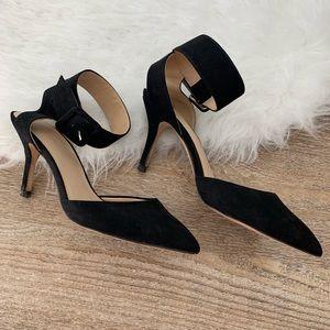 Zara Black Suede Pointed Ankle Strap Heels